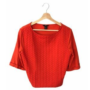 H&M Orange Quilted Top Small